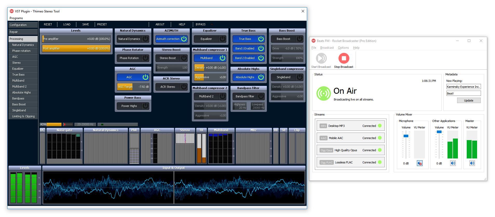 Rocket Broadcaster supports VST plugins for broadcast audio processing